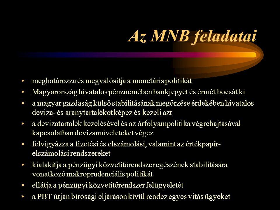 Az MNB feladatai meghatározza és megvalósítja a monetáris politikát Magyarország hivatalos pénznemében bankjegyet és érmét bocsát ki a magyar gazdaság külső stabilitásának megőrzése érdekében hivatalos deviza- és aranytartalékot képez és kezeli azt a devizatartalék kezelésével és az árfolyampolitika végrehajtásával kapcsolatban devizaműveleteket végez felvigyázza a fizetési és elszámolási, valamint az értékpapír- elszámolási rendszereket kialakítja a pénzügyi közvetítőrendszer egészének stabilitására vonatkozó makroprudenciális politikát ellátja a pénzügyi közvetítőrendszer felügyeletét a PBT útján bírósági eljáráson kívül rendez egyes vitás ügyeket