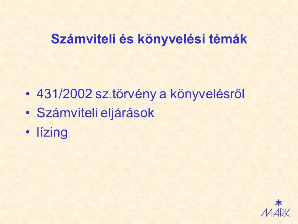 Számviteli és könyvelési témák 431/2002 sz.törvény a könyvelésről Számviteli eljárások lízing