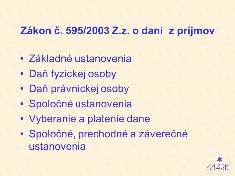 Zákon č. 595/2003 Z.z.