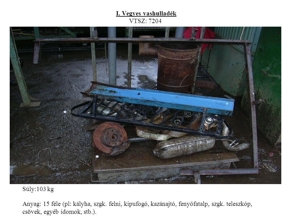 I. Vegyes vashulladék VTSZ: 7204 Súly:103 kg Anyag: 15 féle (pl: kályha, szgk.