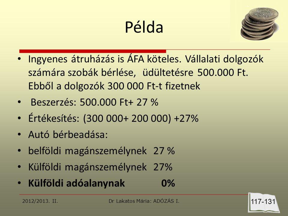 Példa Ingyenes átruházás is ÁFA köteles.