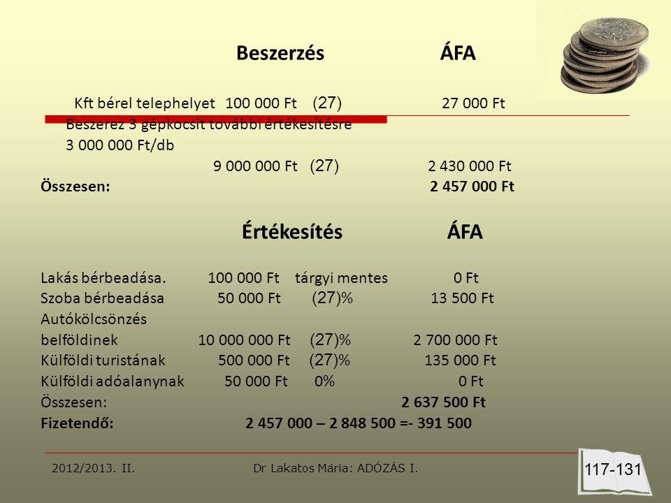 Beszerzés ÁFA Kft bérel telephelyet 100 000 Ft (27) 27 000 Ft Beszerez 3 gépkocsit további értékesítésre 3 000 000 Ft/db 9 000 000 Ft (27) 2 430 000 Ft Összesen: 2 457 000 Ft Értékesítés ÁFA Lakás bérbeadása.