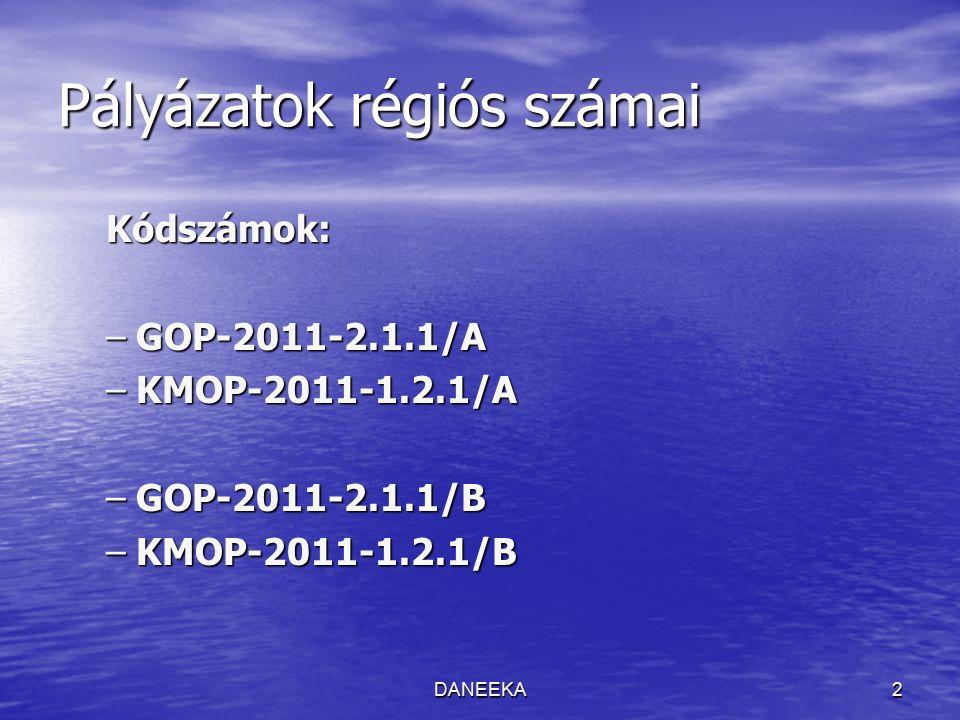 DANEEKA2 Pályázatok régiós számai Kódszámok: –GOP-2011-2.1.1/A –KMOP-2011-1.2.1/A –GOP-2011-2.1.1/B –KMOP-2011-1.2.1/B
