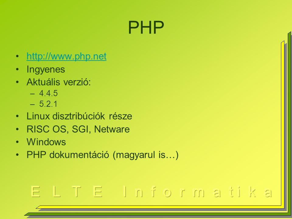 PHP http://www.php.net Ingyenes Aktuális verzió: –4.4.5 –5.2.1 Linux disztribúciók része RISC OS, SGI, Netware Windows PHP dokumentáció (magyarul is…)