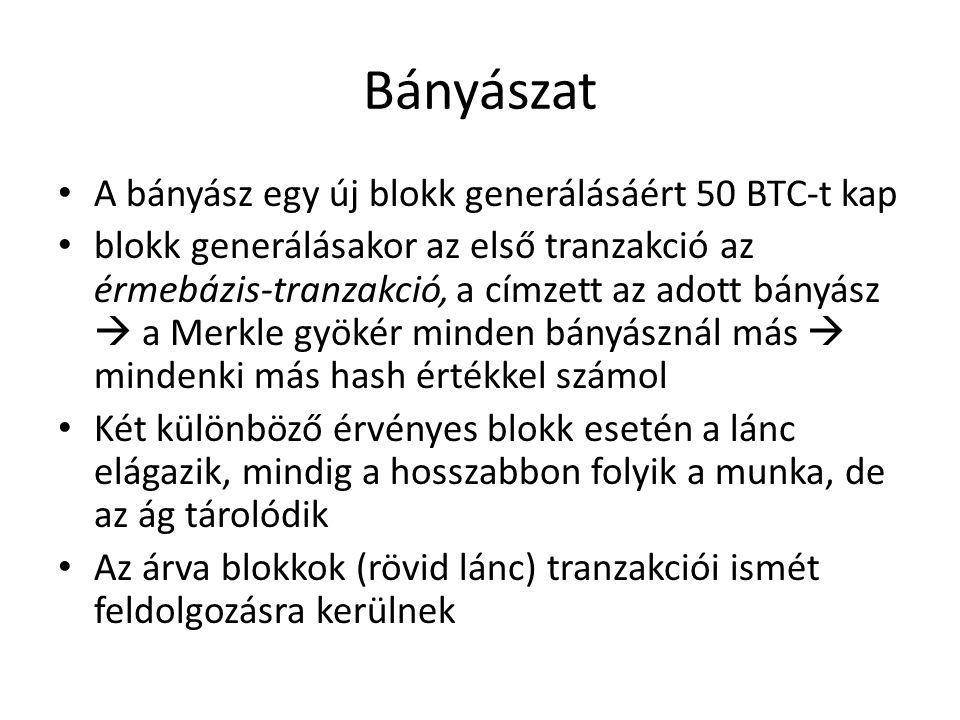Bányászat A bányász egy új blokk generálásáért 50 BTC-t kap blokk generálásakor az első tranzakció az érmebázis-tranzakció, a címzett az adott bányász