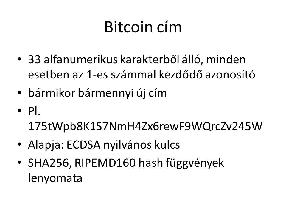 Bitcoin cím 33 alfanumerikus karakterből álló, minden esetben az 1-es számmal kezdődő azonosító bármikor bármennyi új cím Pl. 175tWpb8K1S7NmH4Zx6rewF9