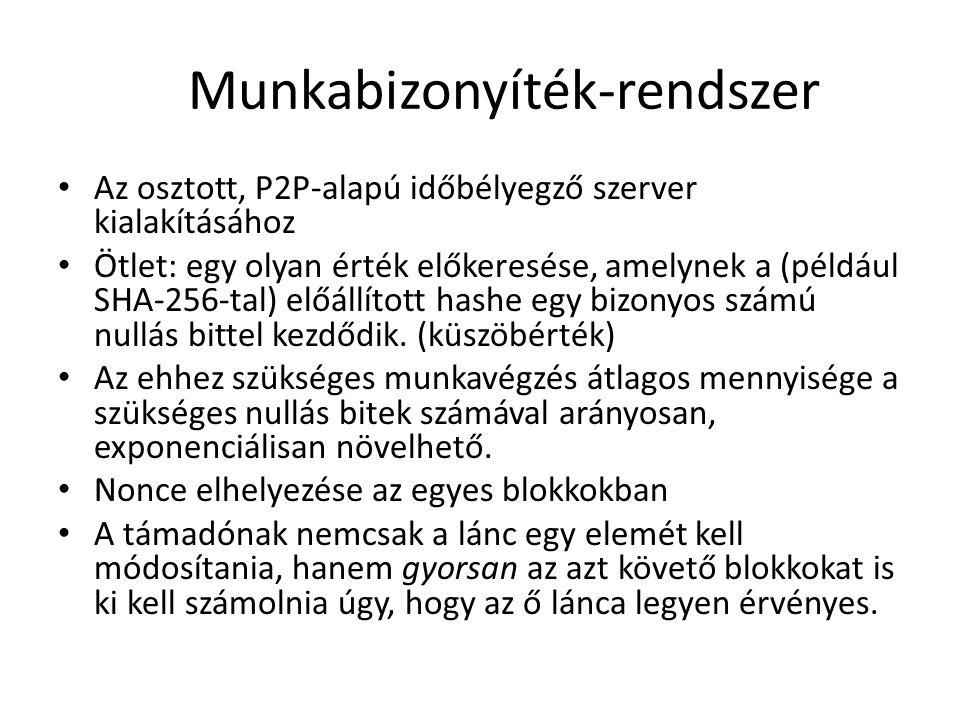 Blokklánc Tx: tranzakciók legelső elem (2009.01.03.) Minden blokk tartalmazza az őt megelőző hash-ét hash-ek garantálják az időbeli sorrendet a leghosszabb lánc az érvényes Fejléc: szoftver verziószáma, előző blokk hash-e, Merkle gyökér, időbélyeg, nonce, küszöbszám Törzs: tranzakciók