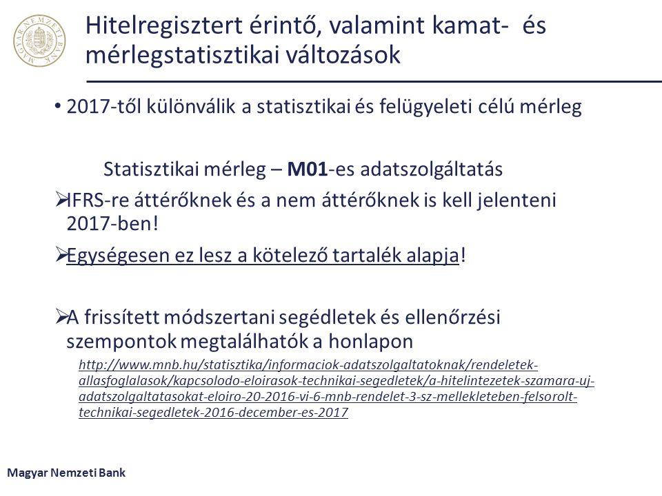 Hitelregisztert érintő, valamint kamat- és mérlegstatisztikai változások 2017-től különválik a statisztikai és felügyeleti célú mérleg Statisztikai mérleg – M01-es adatszolgáltatás  IFRS-re áttérőknek és a nem áttérőknek is kell jelenteni 2017-ben.