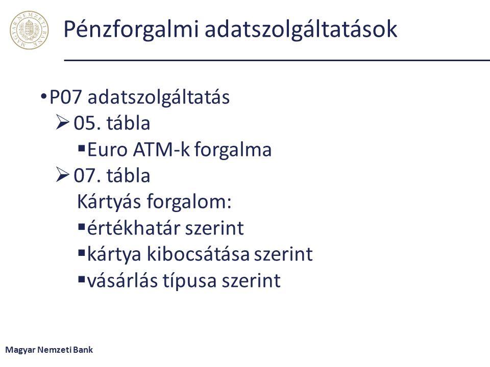 Pénzforgalmi adatszolgáltatások P07 adatszolgáltatás  05.
