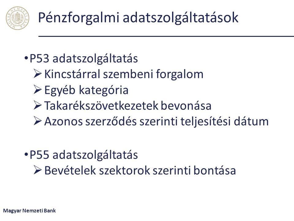 Pénzforgalmi adatszolgáltatások P53 adatszolgáltatás  Kincstárral szembeni forgalom  Egyéb kategória  Takarékszövetkezetek bevonása  Azonos szerződés szerinti teljesítési dátum P55 adatszolgáltatás  Bevételek szektorok szerinti bontása Magyar Nemzeti Bank