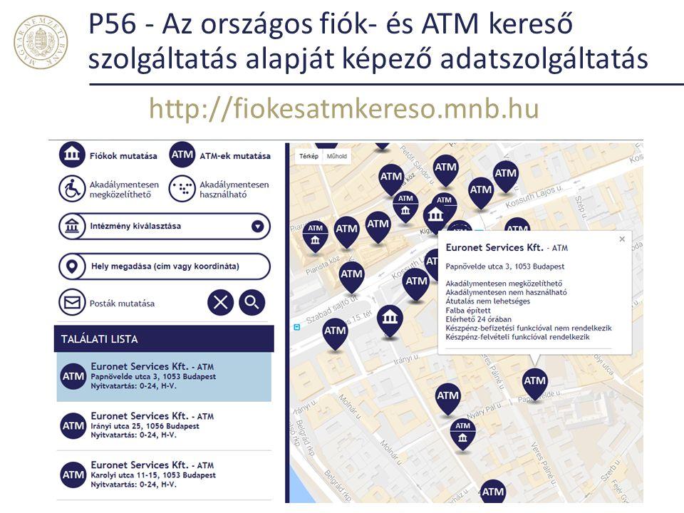 P56 - Az országos fiók- és ATM kereső szolgáltatás alapját képező adatszolgáltatás http://fiokesatmkereso.mnb.hu