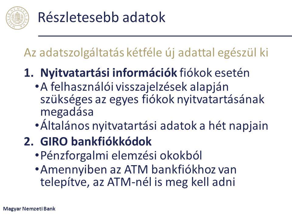Részletesebb adatok 1.Nyitvatartási információk fiókok esetén A felhasználói visszajelzések alapján szükséges az egyes fiókok nyitvatartásának megadása Általános nyitvatartási adatok a hét napjain 2.GIRO bankfiókkódok Pénzforgalmi elemzési okokból Amennyiben az ATM bankfiókhoz van telepítve, az ATM-nél is meg kell adni Az adatszolgáltatás kétféle új adattal egészül ki Magyar Nemzeti Bank
