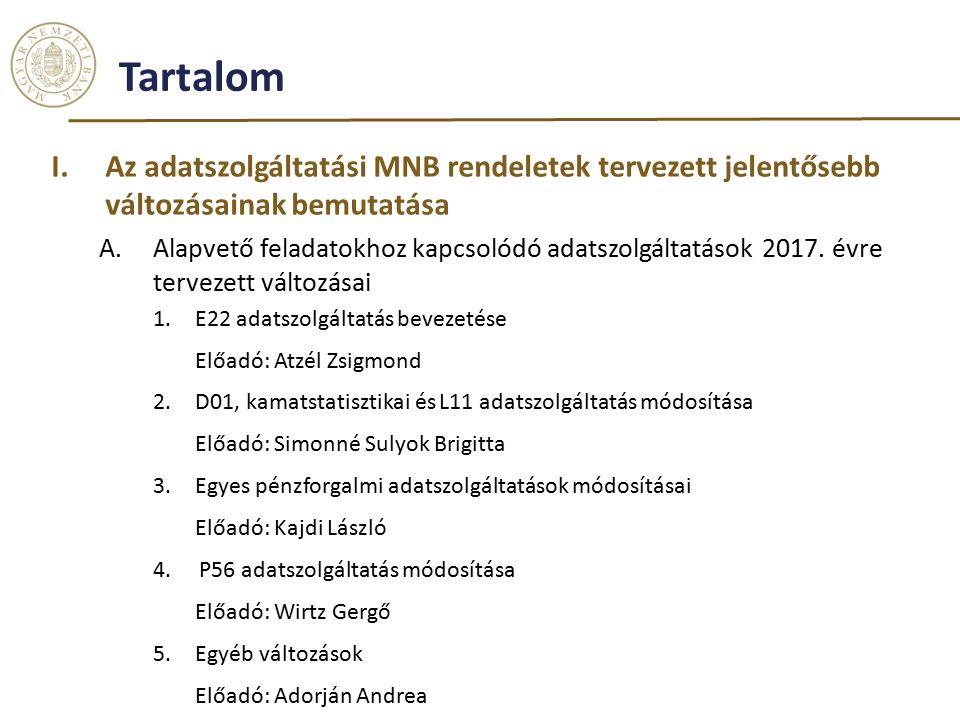 Tartalom I.Az adatszolgáltatási MNB rendeletek tervezett jelentősebb változásainak bemutatása A.Alapvető feladatokhoz kapcsolódó adatszolgáltatások 2017.
