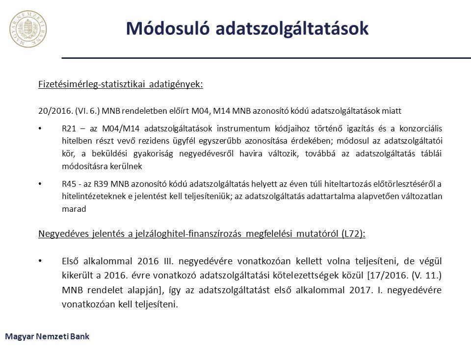 Módosuló adatszolgáltatások Fizetésimérleg-statisztikai adatigények: 20/2016.
