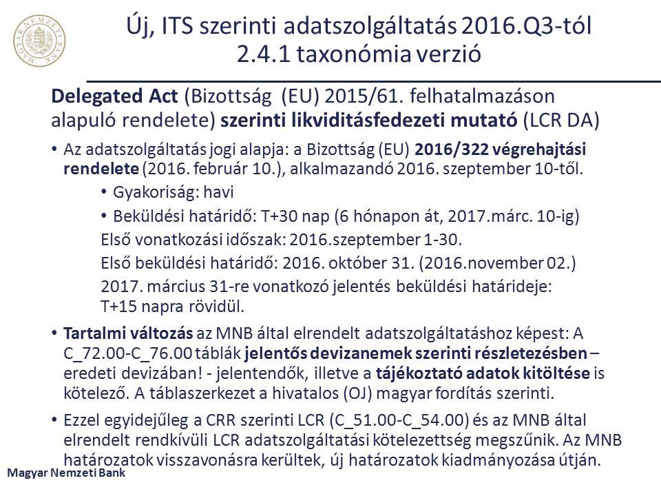Új, ITS szerinti adatszolgáltatás 2016.Q3-tól 2.4.1 taxonómia verzió Delegated Act (Bizottság (EU) 2015/61.