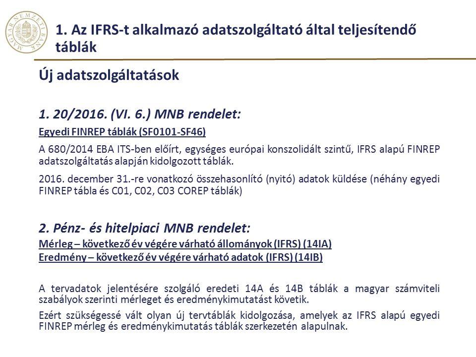 1.Az IFRS-t alkalmazó adatszolgáltató által teljesítendő táblák Új adatszolgáltatások 1.