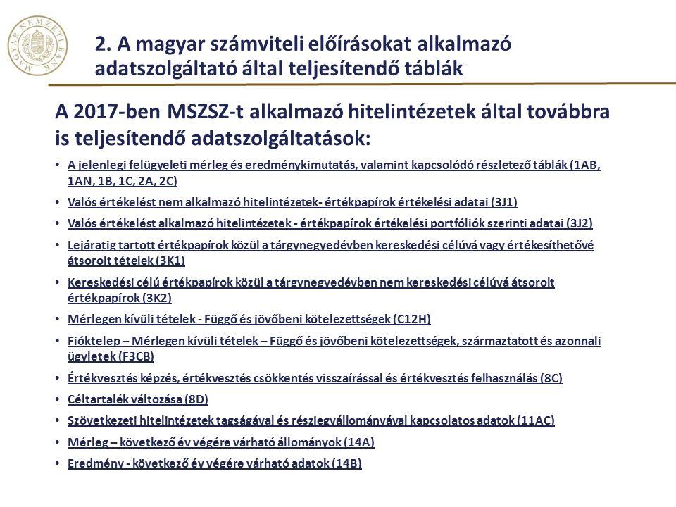 2. A magyar számviteli előírásokat alkalmazó adatszolgáltató által teljesítendő táblák A 2017-ben MSZSZ-t alkalmazó hitelintézetek által továbbra is t