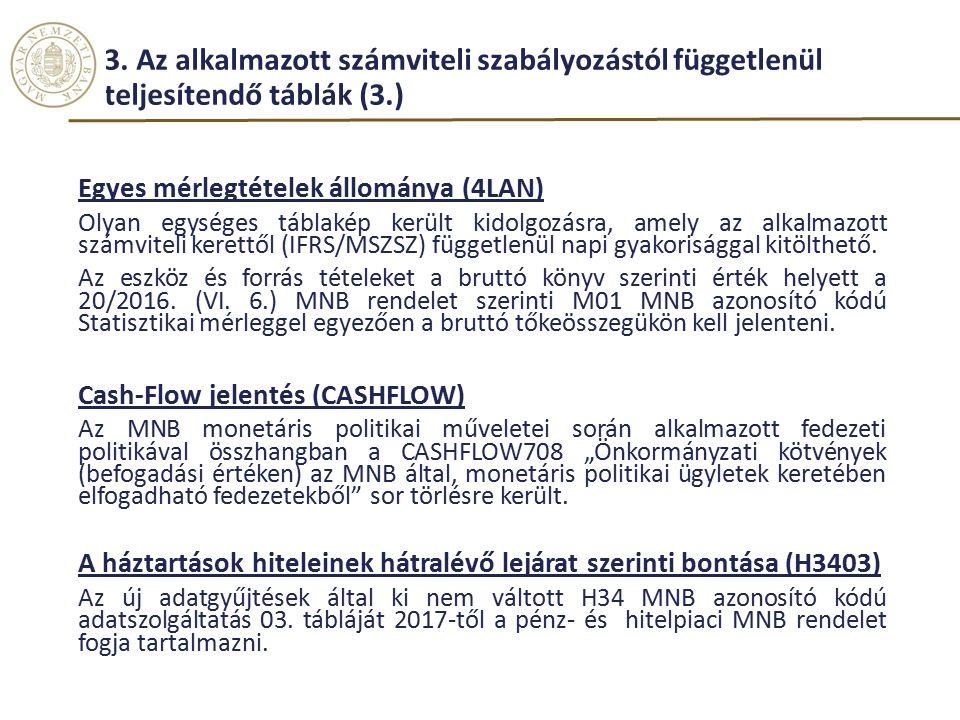 3. Az alkalmazott számviteli szabályozástól függetlenül teljesítendő táblák (3.) Egyes mérlegtételek állománya (4LAN) Olyan egységes táblakép került k
