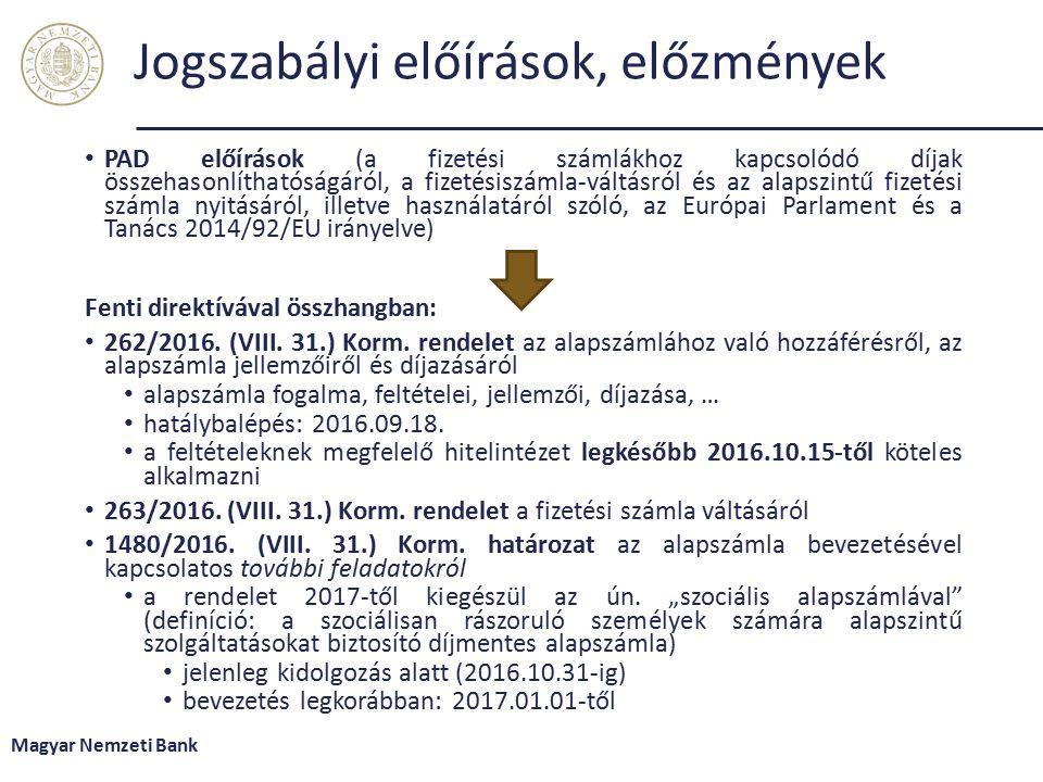 Jogszabályi előírások, előzmények PAD előírások (a fizetési számlákhoz kapcsolódó díjak összehasonlíthatóságáról, a fizetésiszámla-váltásról és az alapszintű fizetési számla nyitásáról, illetve használatáról szóló, az Európai Parlament és a Tanács 2014/92/EU irányelve) Fenti direktívával összhangban: 262/2016.
