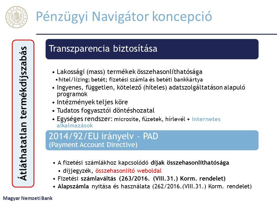 Pénzügyi Navigátor koncepció Transzparencia biztosítása Lakossági (mass) termékek összehasonlíthatósága hitel/lízing; betét; fizetési számla és betéti bankkártya Ingyenes, független, kötelező (hiteles) adatszolgáltatáson alapuló programok Intézmények teljes köre Tudatos fogyasztói döntéshozatal Egységes rendszer: microsite, füzetek, hírlevél + internetes alkalmazások 2014/92/EU irányelv – PAD (Payment Account Directive) A fizetési számlákhoz kapcsolódó díjak összehasonlíthatósága díjjegyzék, összehasonlító weboldal Fizetési számlaváltás (263/2016.