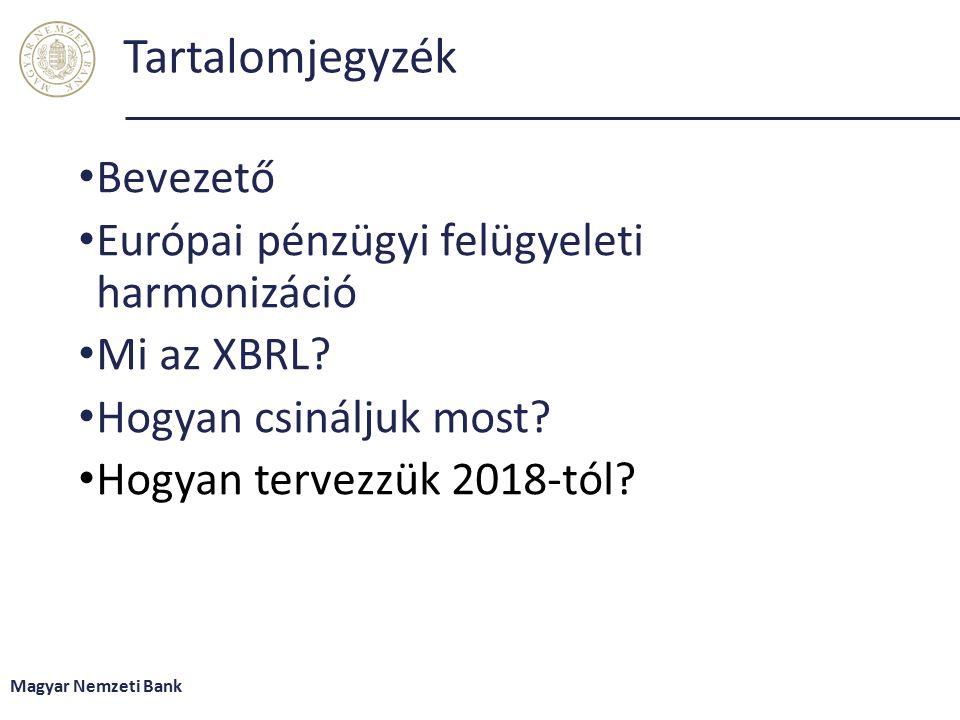 Tartalomjegyzék Bevezető Európai pénzügyi felügyeleti harmonizáció Mi az XBRL.