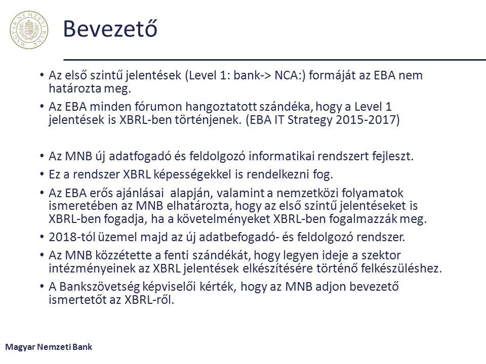 Bevezető Az első szintű jelentések (Level 1: bank-> NCA:) formáját az EBA nem határozta meg.