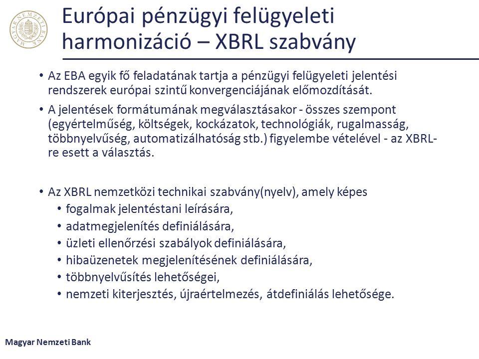Európai pénzügyi felügyeleti harmonizáció – XBRL szabvány Az EBA egyik fő feladatának tartja a pénzügyi felügyeleti jelentési rendszerek európai szintű konvergenciájának előmozdítását.