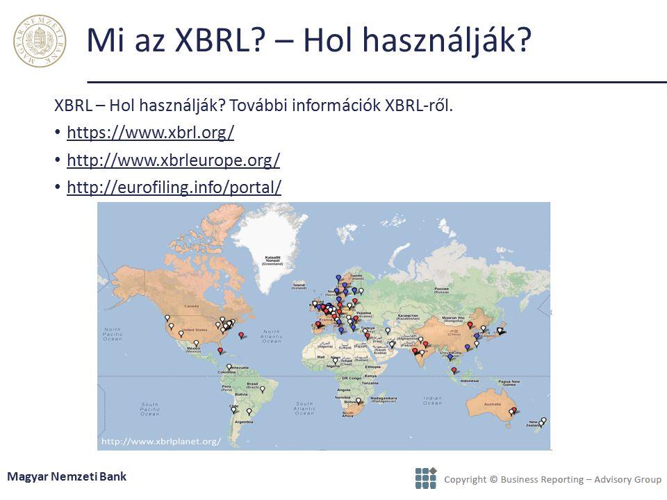 Mi az XBRL.– Hol használják. XBRL – Hol használják.