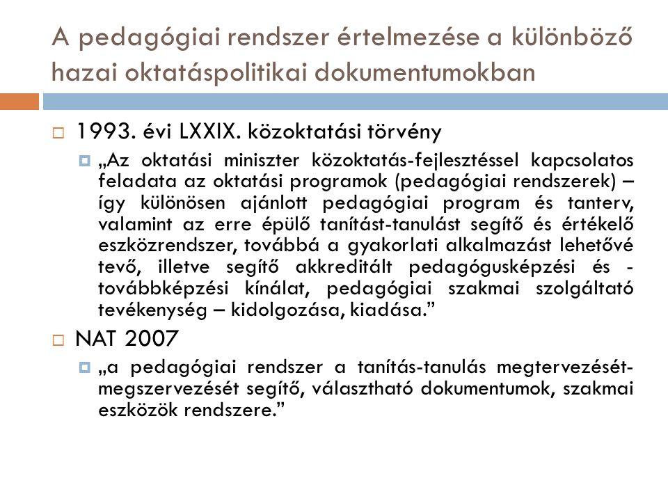 A pedagógiai rendszer értelmezése a különböző hazai oktatáspolitikai dokumentumokban  1993.
