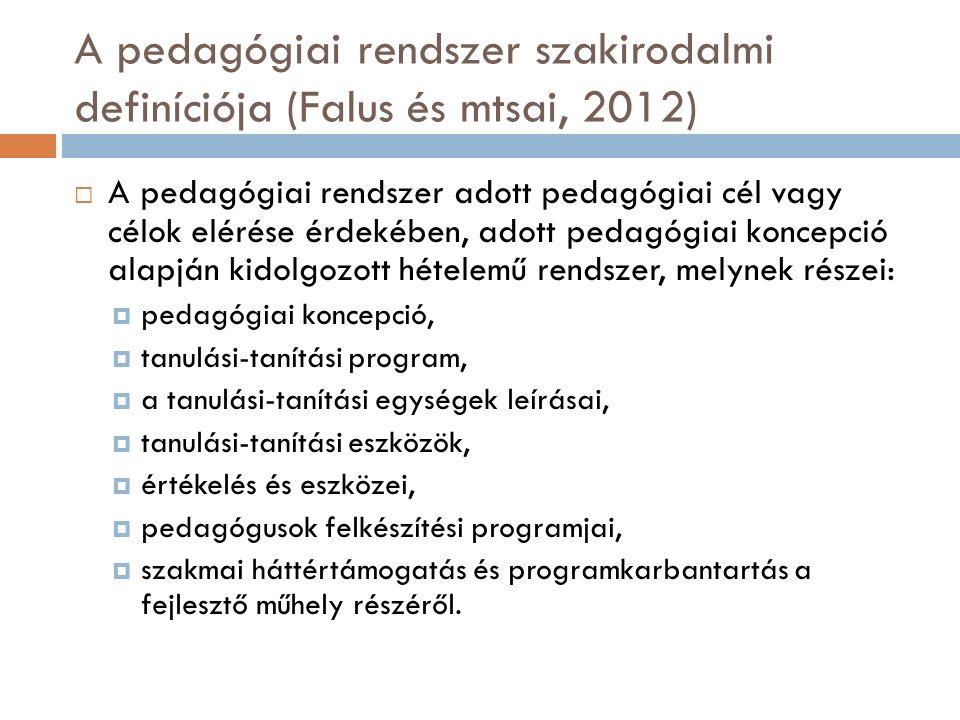 A pedagógiai rendszer szakirodalmi definíciója (Falus és mtsai, 2012)  A pedagógiai rendszer adott pedagógiai cél vagy célok elérése érdekében, adott pedagógiai koncepció alapján kidolgozott hételemű rendszer, melynek részei:  pedagógiai koncepció,  tanulási-tanítási program,  a tanulási-tanítási egységek leírásai,  tanulási-tanítási eszközök,  értékelés és eszközei,  pedagógusok felkészítési programjai,  szakmai háttértámogatás és programkarbantartás a fejlesztő műhely részéről.