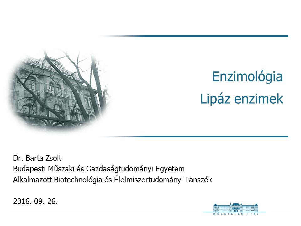 Enzimológia Lipáz enzimek Dr.
