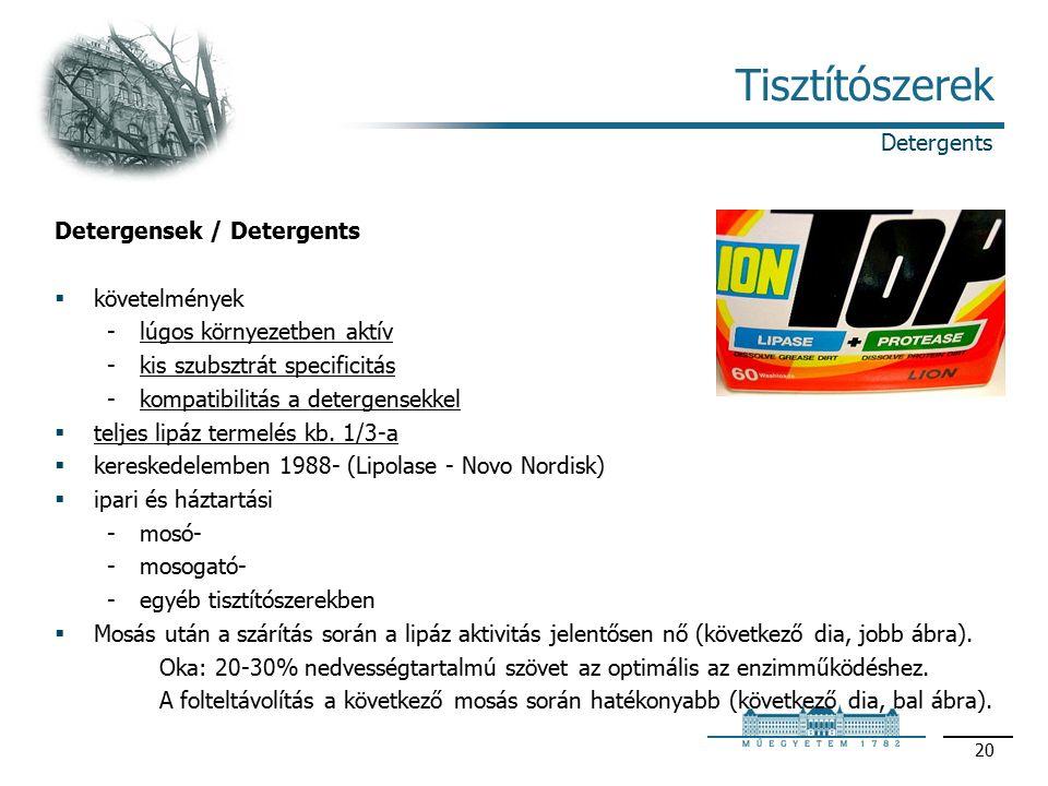20 Tisztítószerek Detergensek / Detergents  követelmények lúgos környezetben aktív kis szubsztrát specificitás kompatibilitás a detergensekkel  teljes lipáz termelés kb.