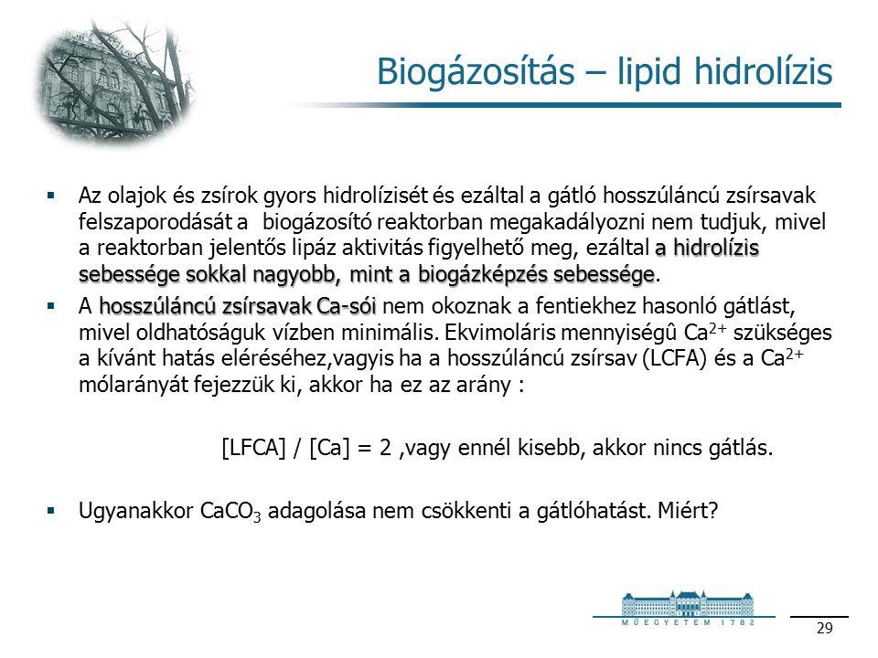 Biogázosítás – lipid hidrolízis a hidrolízis sebessége sokkal nagyobb, mint a biogázképzés sebessége  Az olajok és zsírok gyors hidrolízisét és ezáltal a gátló hosszúláncú zsírsavak felszaporodását a biogázosító reaktorban megakadályozni nem tudjuk, mivel a reaktorban jelentős lipáz aktivitás figyelhető meg, ezáltal a hidrolízis sebessége sokkal nagyobb, mint a biogázképzés sebessége.