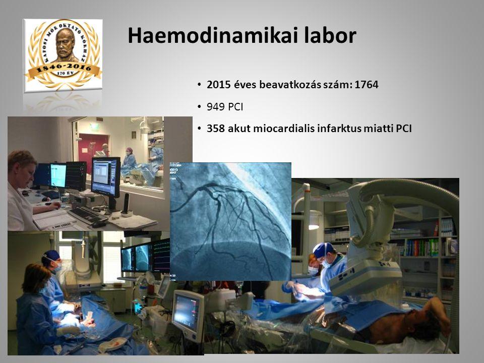 2015 éves beavatkozás szám: 1764 949 PCI 358 akut miocardialis infarktus miatti PCI Haemodinamikai labor