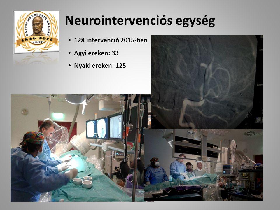 128 intervenció 2015-ben Agyi ereken: 33 Nyaki ereken: 125 Neurointervenciós egység