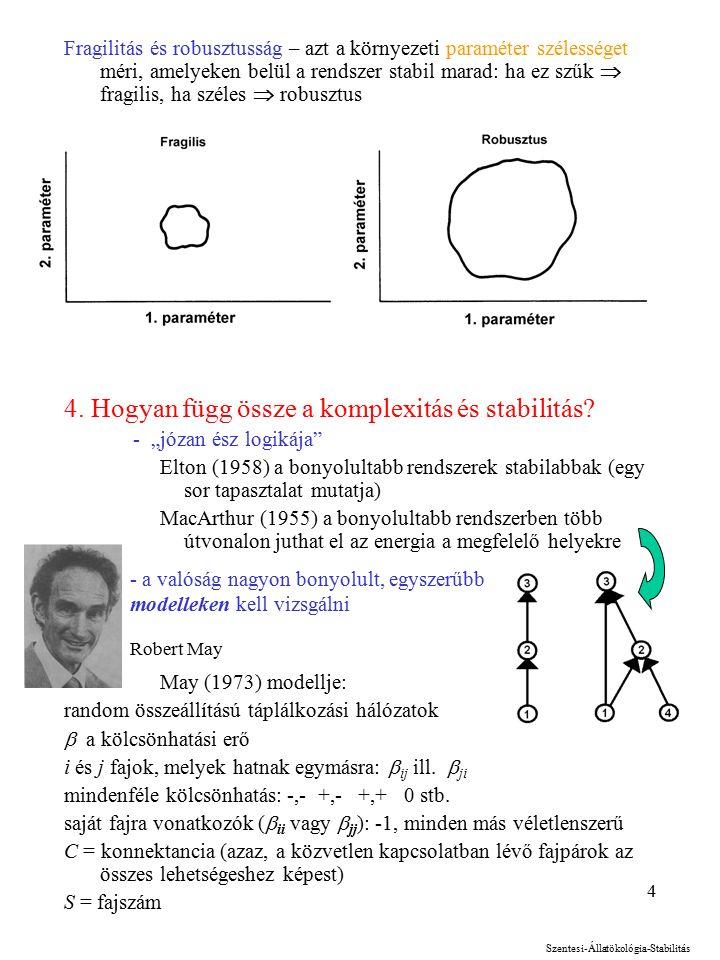 4 Fragilitás és robusztusság – azt a környezeti paraméter szélességet méri, amelyeken belül a rendszer stabil marad: ha ez szűk  fragilis, ha széles  robusztus 4.