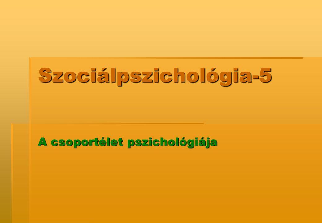 Szociálpszichológia-5 A csoportélet pszichológiája
