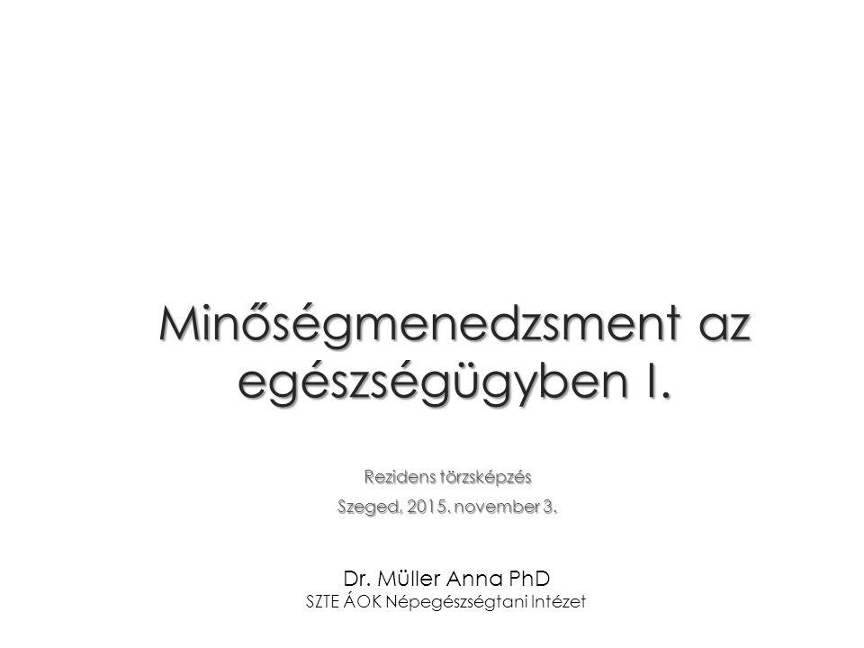 Minőségmenedzsment az egészségügyben I. Rezidens törzsképzés Szeged, 2015.