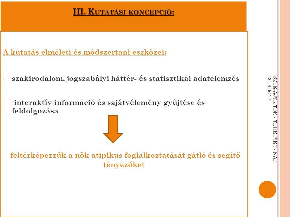III. K UTATÁSI KONCEPCIÓ : A kutatás elméleti és módszertani eszközei: - szakirodalom, jogszabályi háttér- és statisztikai adatelemzés - interaktív in