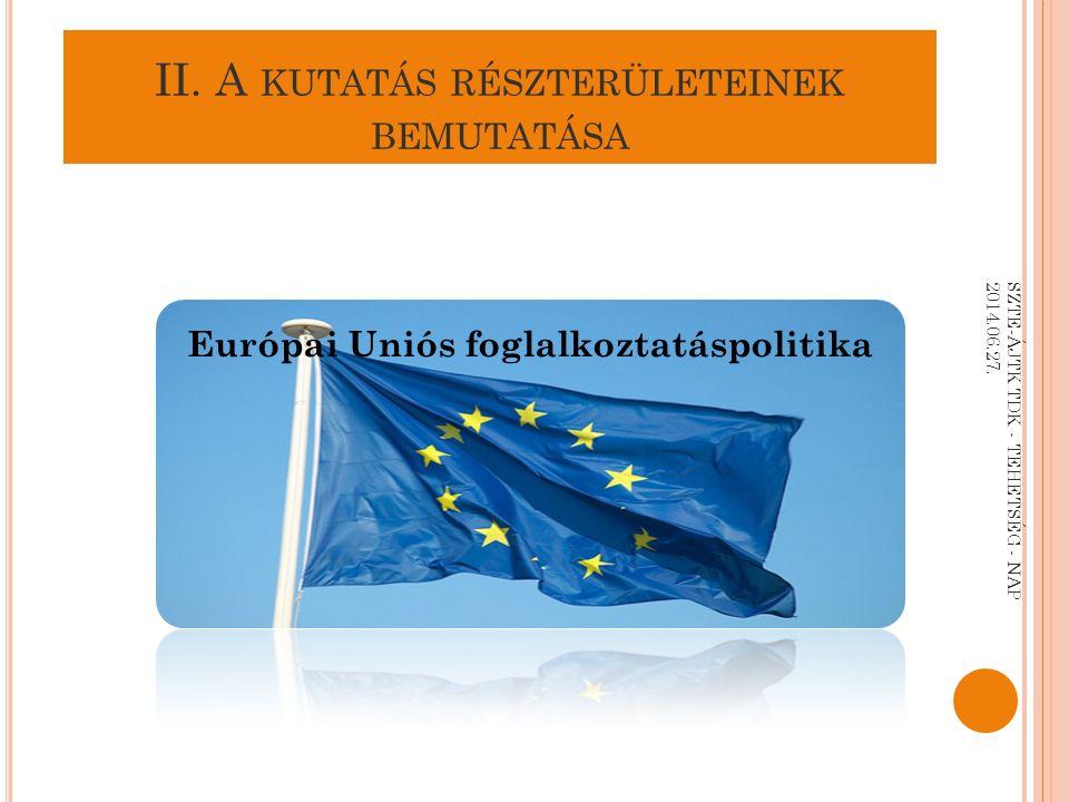II. A KUTATÁS RÉSZTERÜLETEINEK BEMUTATÁSA Európai Uniós foglalkoztatáspolitika SZTE-ÁJTK TDK - TEHETSÉG - NAP 2014.06.27.
