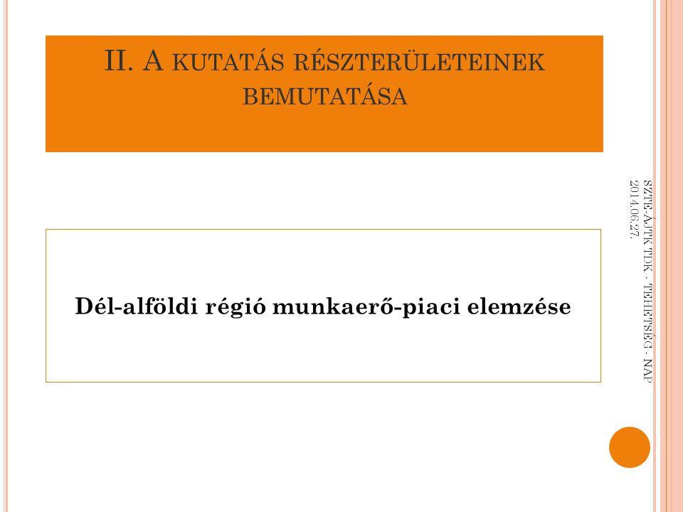 II. A KUTATÁS RÉSZTERÜLETEINEK BEMUTATÁSA Dél-alföldi régió munkaerő-piaci elemzése SZTE-ÁJTK TDK - TEHETSÉG - NAP 2014.06.27.