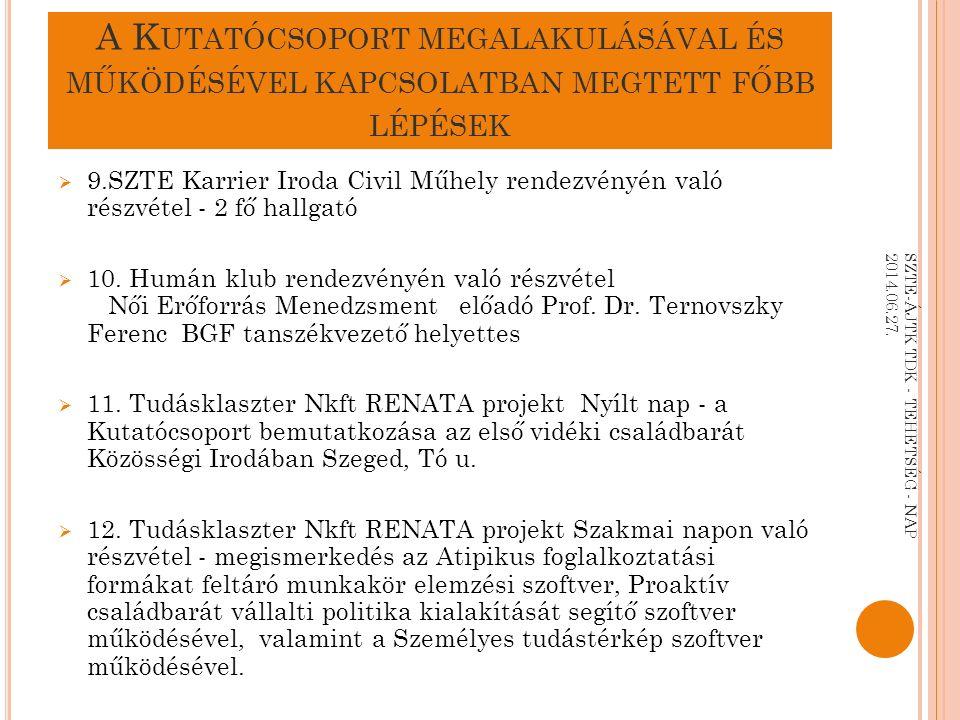 I.A Z ATIPIKUS FOGLALKOZTATÁS ADATOK 2009-2011 II.