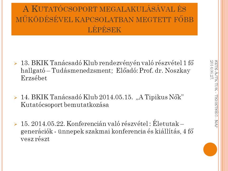 FOGLALKOZTATÁSI RÁTÁK ORSZÁGOS BONTÁSBAN SZTE-ÁJTK TDK - TEHETSÉG - NAP 2014.06.27.