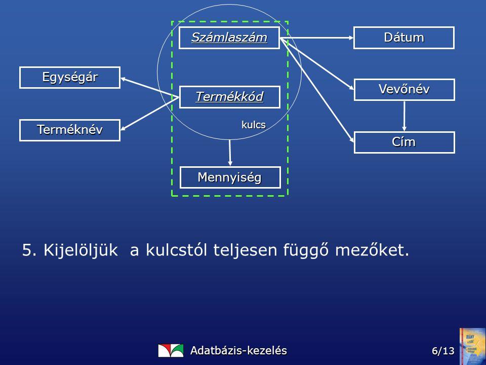 Adatbázis-kezelés 6/13 Számlaszám Termékkód Mennyiség Dátum Vevőnév Cím Egységár Terméknév kulcs 5.