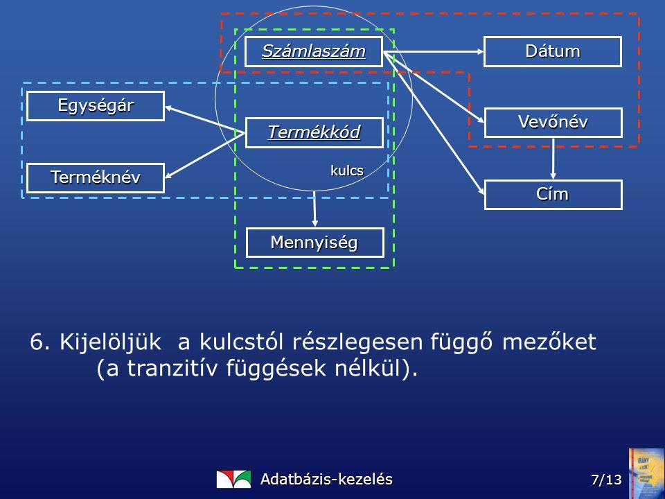 Adatbázis-kezelés 7/13 Számlaszám Termékkód Mennyiség Dátum Vevőnév Cím Egységár Terméknév kulcs 6.