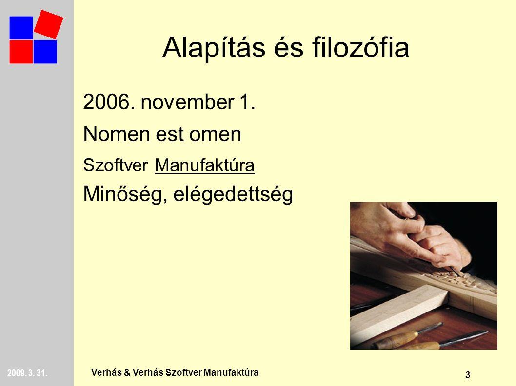 3 2009. 3. 31. Verhás & Verhás Szoftver Manufaktúra Alapítás és filozófia 2006.