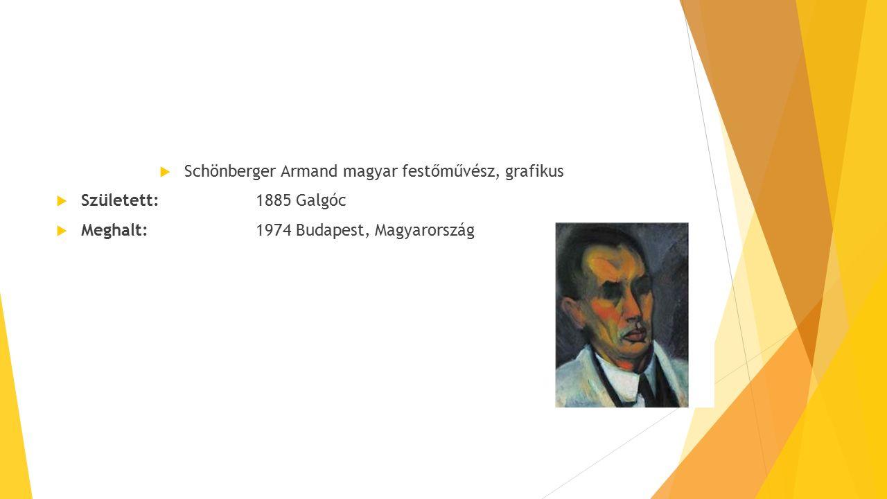  Schönberger Armand magyar festőművész, grafikus  Született:1885 Galgóc  Meghalt:1974 Budapest, Magyarország