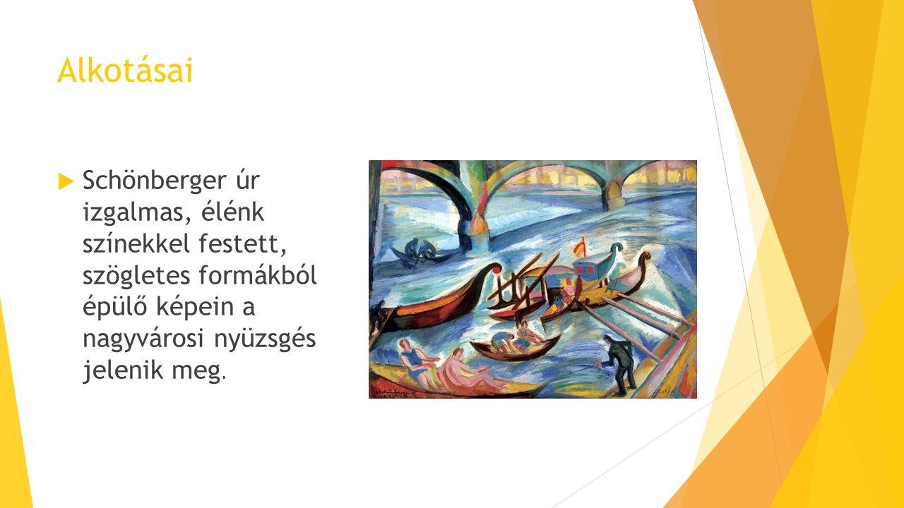 Alkotásai  Schönberger úr izgalmas, élénk színekkel festett, szögletes formákból épülő képein a nagyvárosi nyüzsgés jelenik meg.