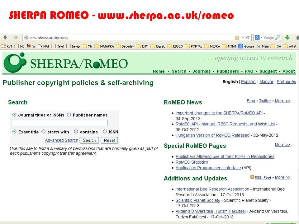 SHERPA ROMEO - www.sherpa.ac.uk/romeo