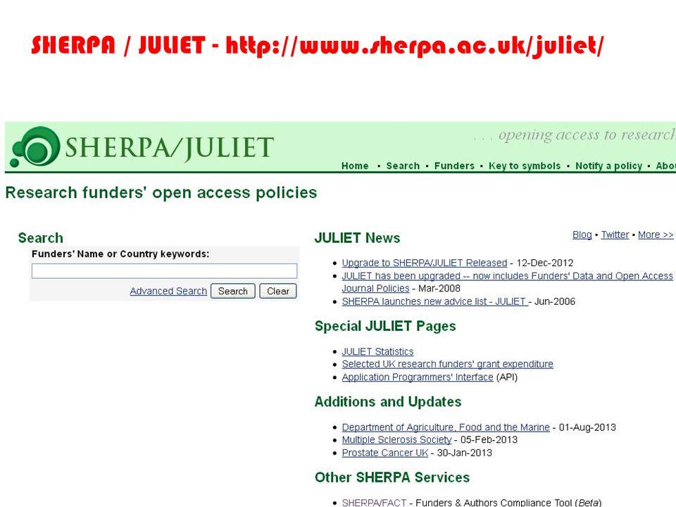 SHERPA / JULIET - http://www.sherpa.ac.uk/juliet/